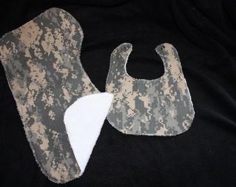 Digital Camo Military Baby Gift Set Bib, Burp Cloth