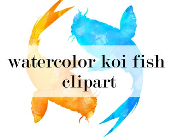 Popular items for koi fish clipart on etsy for Blue and orange koi fish
