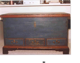 American Country Eighteenth Century Blue Painted Small Blanket Chest, FREE SHIPPING U.S.A.
