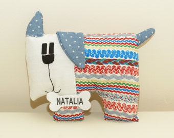 Personalized Stuffed Dog Toy Handmade Plush Gift. Christening or New Baby Gift. Your child name on the dog. Gift for girl or boy.