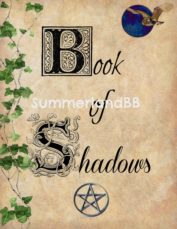 How To Make A Book Of Shadows Cover ~ Book of shadows cover page digital download bos pages wiccan
