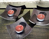 Candle holders (set of 3) square dish - forged iron metal hammered plate - small jewelry trinket dish - tea light holder - made in Sweden