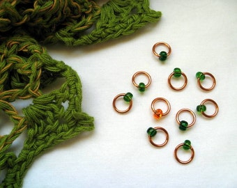 """Small Snag Free Beaded Stitch Markers """"Copper & Clover"""""""
