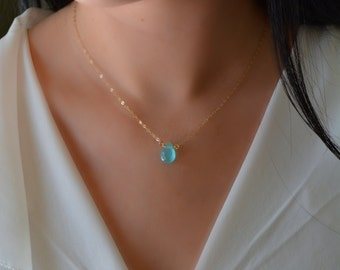 Blue Chalcedony Tear Drop Layering Necklace