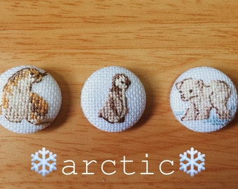 Cross stitched covered buttons/brooches/magnets - Arctic series