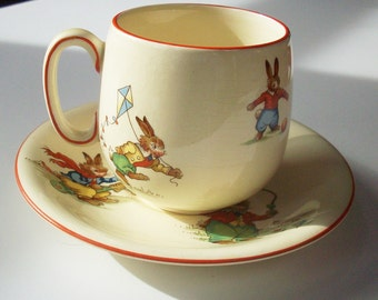 Vintage Royal Winton Bunnys Playtime / Childs Cup and Saucer / Rare / signed