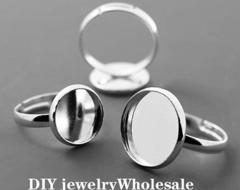 10PCS Silver Ring Round Base Setting10mm 12mm 14mm 16mm 16mm 20MM Round Base Setting
