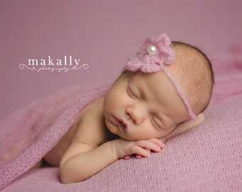 Pink Mohair Newborn Wrap and Matching Headband - Photo Prop