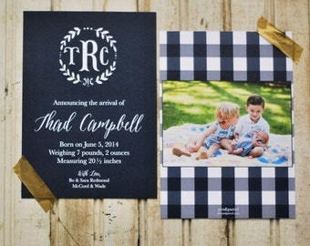 Monogrammed + Branch Baby Boy Announcements-FREE SHIPPING or DIY printable