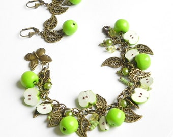 Apple cha cha charm Bracelet and earrings set Polymer clay jewelry Handmade Gift Set Apples
