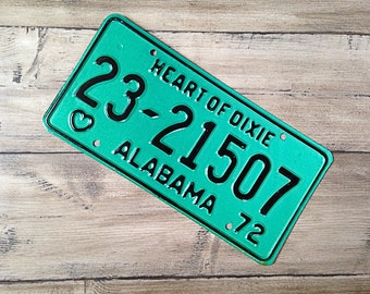 Vintage Alabama License Plate 1972 | Green Teal Aqua Mint Heart of Dixie | Man Cave Decor | Old Collectible | For Him | Garage