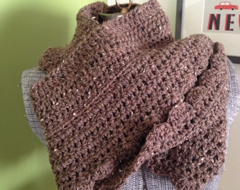 Infinty Scarf  Cowl  Crochet Scarf  Brown  Ruffled  Extra Long