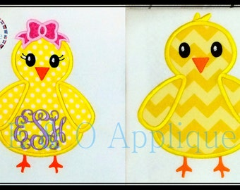 Easter Chick Embroidery Design - Easter Chick Applique Design - Girl Chick Applique - Boy Chick Applique - Easter Chick Embroidery Design
