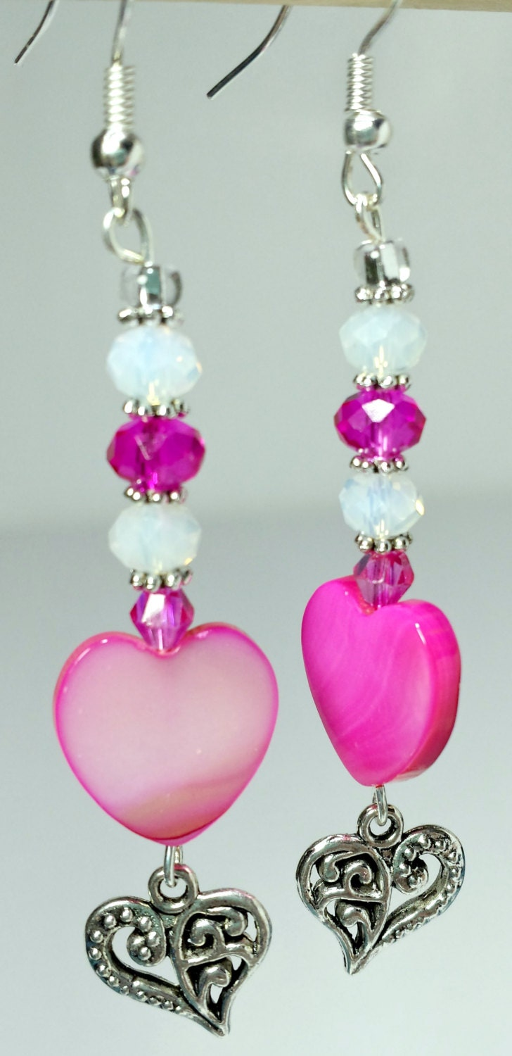 dangle earrings pink shell with silver dangle