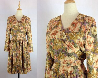 Romantic Japanese Vintage Floral Dress / Chiffon day dress / Made in Japan / Small Dress
