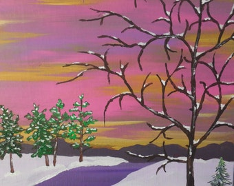 """Original 11"""" x 14"""" Acrylic Painting on a canvas panel, ready for framing. """"Days End"""""""