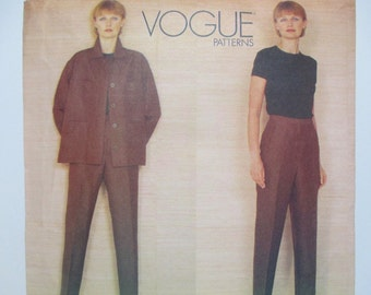Donna Karan Vogue American Designer 2130 ~ Linen Pants and Short, Lose-Fitting Jacket and Knit Top Size 8-10=12 UNCUT 1998 Sewing Pattern
