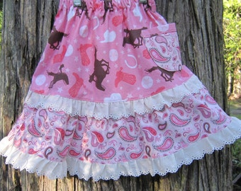 Girl's Pink Cotton Cowgirl Skirt with Eyelet Lace in Size  4