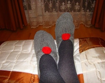 "SALE!!! Lithuanian slippers, stylish hand knitted wool slippers ""Roses"""