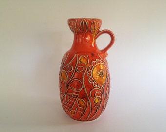 Bay Keramik 75 - 20 handled vase by designer : Bodo Mans , vintage West Germany  Pottery.