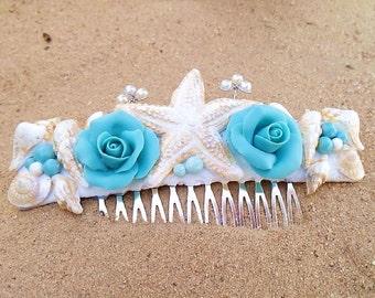 Bridal Comb of Sea Shells & Blossoms - Beach Wedding Hair Accessory - Mermaid sea shell Pearls comb