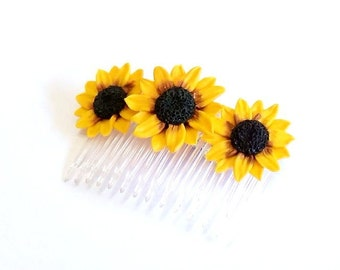 Sunflower Comb - Sunflower Flower comb -Wedding Hair Comb Romantic Bridal Hair Accessories Yellow  Flowers Comb Sunflower Comb