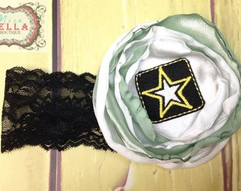 Army Strong Baby Girls Newborn Infant Toddler Flower Lace Stretchy Headband