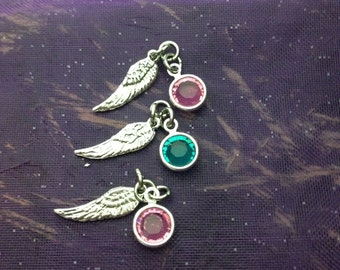 ADD ON ONLY-Sterling Silver Angel Wing Charm with Swarovski Birthstone Or Pearl- Two Sizes- Angel Wing