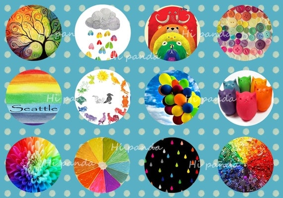 Rainbow Ornaments Digital Collage Sheet, Kaleidoscope design, 25mm Printable Circles download, Round Images Pendant, Cabochon, Bottle Caps