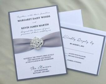Shabby Chic, Hollywood Glam Wedding Invitation, Grey ribbon with Broach, Elegant Invite with RSVP set