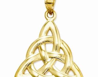14K Yellow Gold Celtic Trinity Knot Pendant Charm LKQD1100