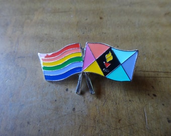 vintage cloisonne olympic colorful flag rainbo gay pin stripe