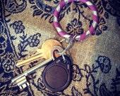 Hula Hoop Charm Keyring (Silver Glitter Spiral)