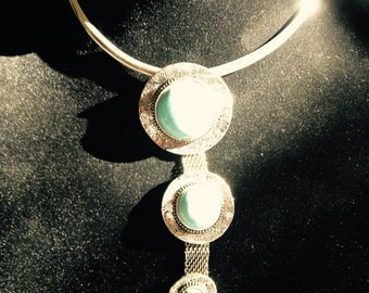 Sterling Silver Choker With Turquoise Cabochons Pendant