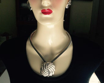 Sterling Silver Pendant And Sterling Clip Earrings