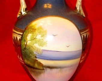 Beautiful Vintage Noritake Vase with Landscape and Floral Scenes (Revised Listing)