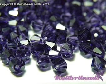 Czech Crystal Bicone Beads 4 mm - Purple Velvet