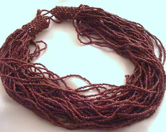 Vintage Brown Glass Seed Bead Torsade Necklace Choker