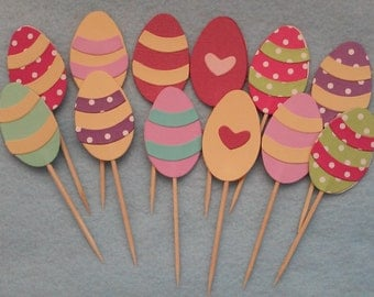 12 Easter Eggs Cupcake toppers