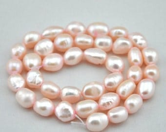 Freshwater Pearl Baroque pearls Potato Pale pink Loose Beads 8.0-9.0mm 36pcs Full Strand Item ---Z00