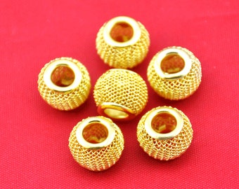 Gold color Basketball Wives Mesh Bead Balls Earring Findings Charm Bracelets Finding 15pcs - 9x12mm---G1707