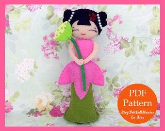 Lotus Fairy Doll of Summer. PDF Pattern. Felt Doll.
