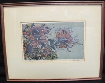 """Sylvia Solochek Walters 1963 Woodcut Print """"Red Bouquet"""" 1 of 14"""