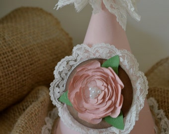 Shabby chic pink birthday party hat