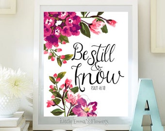 Printable bible verse art be still and know print psalm 46 10 nursery decor wall art scripture art bible verse print  kids decor id95-96