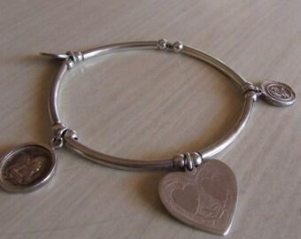 Unique Sterling Silver Stretch Charm Bracelet