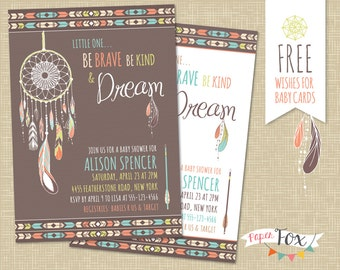 Dreamcatcher Baby Shower Invitation / Tribal Baby Shower / Baby Shower Invite / Boho Baby Shower / Arrows and Feathers /  - PRINTABLE