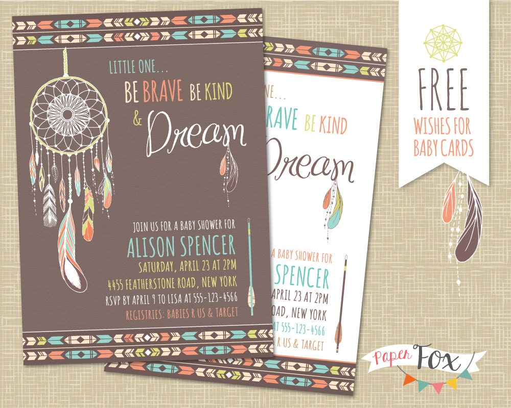 Dreamcatcher Baby Shower Invitation Tribal Baby Shower