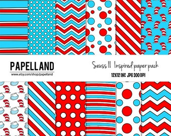 Dr seuss inpired digital paper pack II for scrapbooking,Making Cards, Tags and Invitations / Instant Download