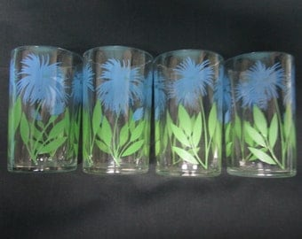 Swanky Swig Juice Glass Set of 4 Cornflower No. 1 Blue and Green